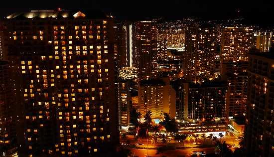 ヒルトンハワイアンビレッジの夜景