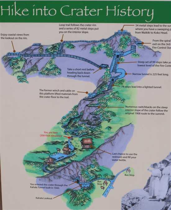 ダイヤモンドヘッド登山地図