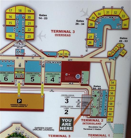 ホノルル空港2階地図